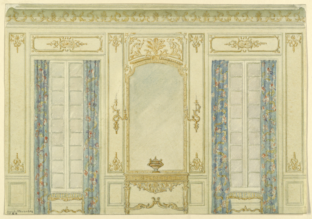 Wall elevation of a Louis XV room showing a console table, over which is a mirror and sconces, flanked by windows with flowered draperies, and benches below. Carved and gilded paneling.