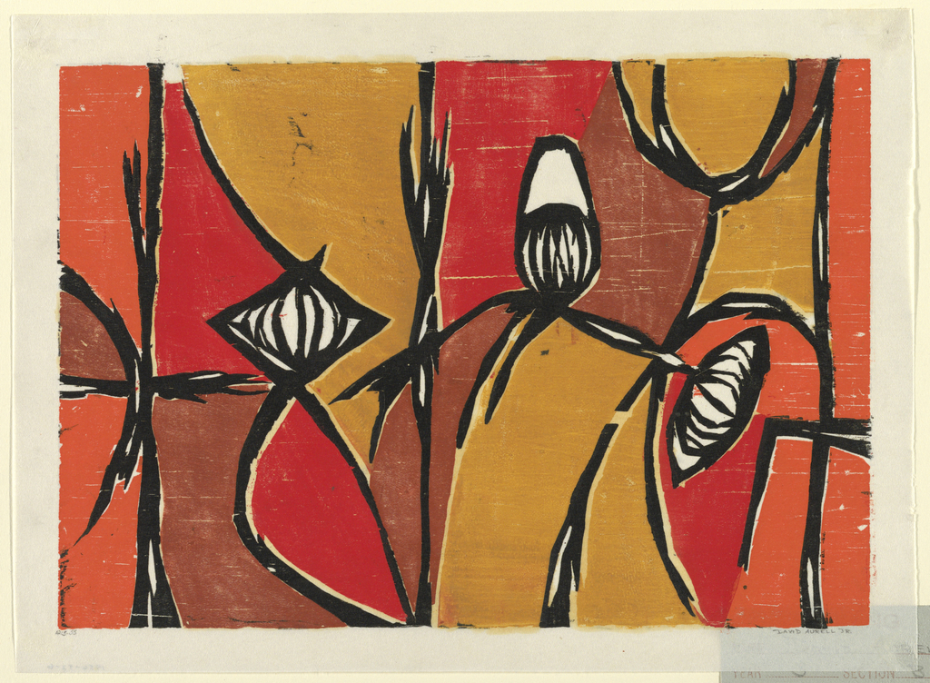 """Print, Woodcut. """"Floral Abstraction"""""""