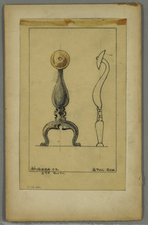 Drawing, Andiron, 20th century