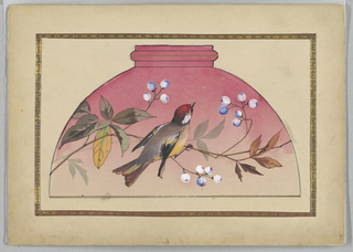 Red bird and branch with blueberries on graduated shades of pink ground.