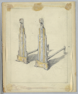 Drawing, Andirons, 20th century