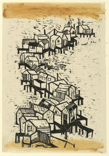 Vertical rectangle. Abstract design composed of houses on piles, arranged serpentine fashion, from lower left to upper right.