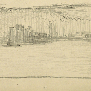 A view looking across flat space with objects against cliffs in the distance (possibly view across Hudson River with the New Jersey Palisades in the distance).