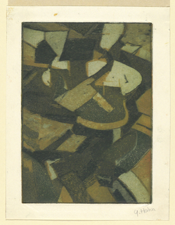 Vertical rectangle, Abstraction of colored block-like forms; possibly meant to represent figures