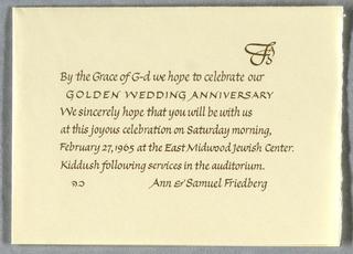 Calligraphy, Golden Wedding Invitation, 1965