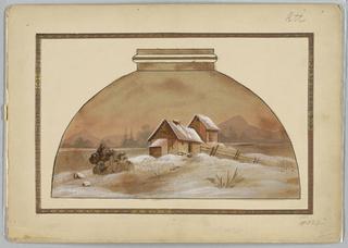 Scene of barn, snow, and lake.