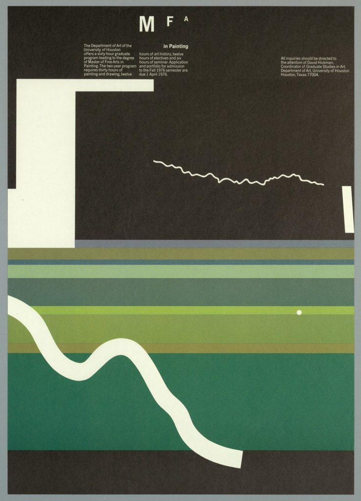 Very stylized, abstract landscape with striated bands of black, green, brown, light green and purple at lower half. Upper section of poster is black. At left and right, hard edged white rectangular forms suggest buildings while an irregular white line at center could suggest lightning. A bold white irregular stripe cuts across the lower pattern from left to right. A small white circle at right below center balances the composition. The letters MFA recede from left to right at upper center. Below this, two columns of text and one block of text at right in white.