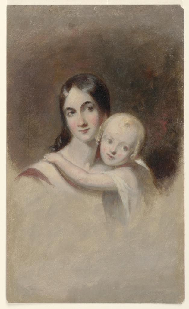 Vignette of a female figure holding a child.