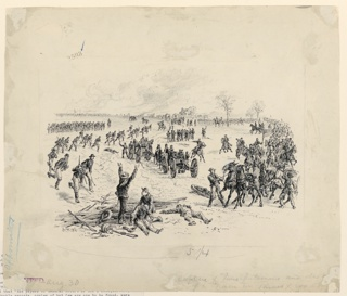 The capture of guns and prisoners at Appomatox. Soldiers running at left. Two cannons at center. Horses and cavalry at right. Group in foreground, including one wounded man, and one lying prone on ground.