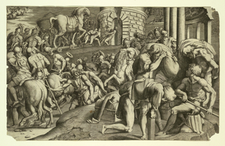 Print illustrating the Trojans pulling the wooden horse into the city. After a drawing by the artist  Primaticcio.