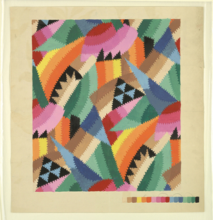 Abstract design in brightly colored shapes with serrated outlines. Color chart of seventeen squares at lower right.