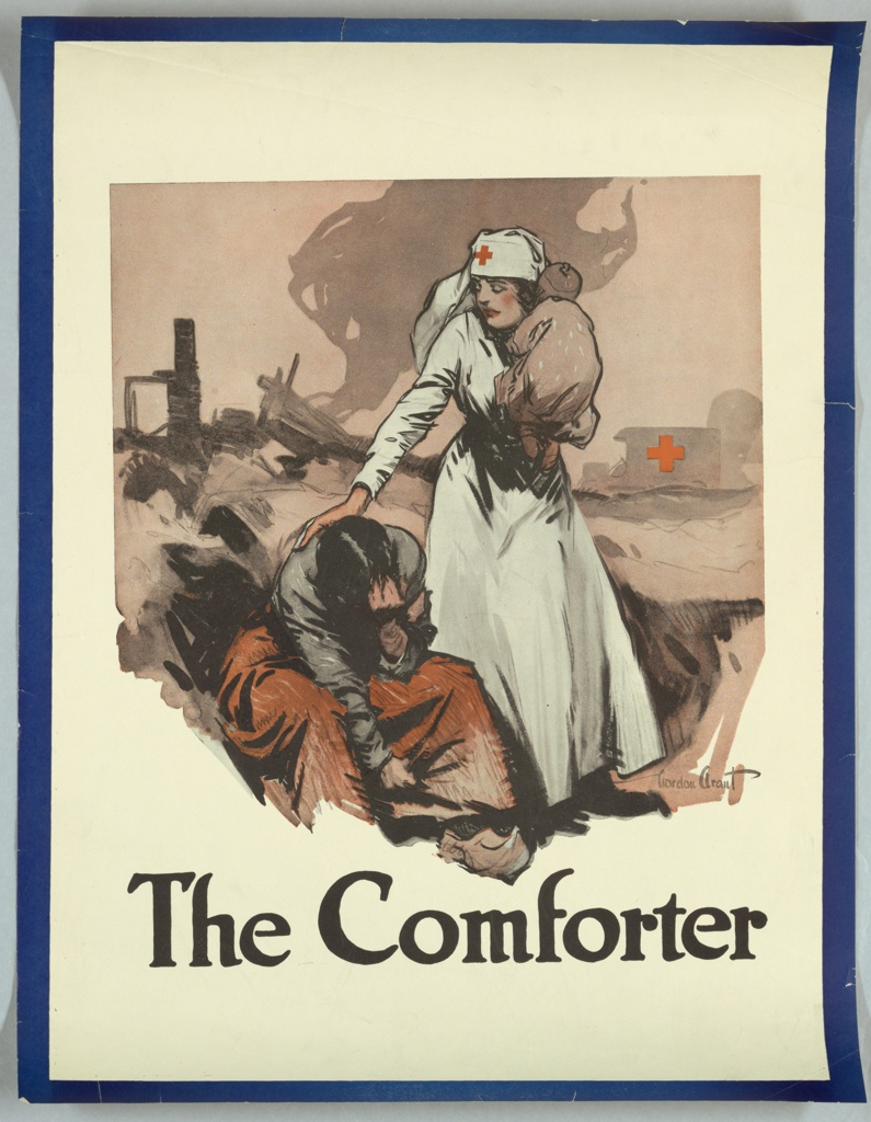WWI-era poster with image of nurse on the front line caring for an injured soldier.