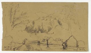 River in foreground with rocks and trees on either side. Mount Washington in the far distance, center. Verso: Studies of leaves and grass.