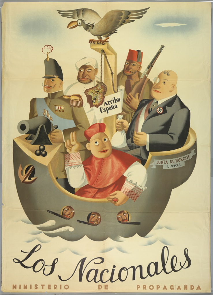 """Spanish Civil War poster. In a warship labeled JUNTA DE BURGOS/ LISBOA,"""" (Burgos/Lisboa Militia) the enemies of the revolution prepare to enter Spain. Cartoon renditions of the aristocracy, the Moor, the Turk, the fascist/capitalist, and the church. The map of Spain hangs from a gallows surmounted by a vulture. Three armed men peer from port holes."""