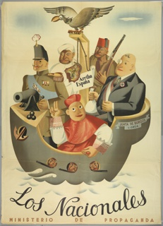 "Spanish Civil War poster. In a warship labeled JUNTA DE BURGOS/ LISBOA,"" (Burgos/Lisboa Militia) the enemies of the revolution prepare to enter Spain. Cartoon renditions of the aristocracy, the Moor, the Turk, the fascist/capitalist, and the church. The map of Spain hangs from a gallows surmounted by a vulture. Three armed men peer from port holes."