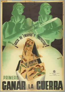 Spanish Civil War poster. Two soldiers, rendered in green, with fixed bayonets stand behind a house of cards, decorated with antique tarot motifs. Bottom right, in image: JUNTA DELEGADA DE DEFENSA DE MADRID - DELEGACION DE PROPAGANDA Y PRENSA (with official crest) (Joined Defense Delegation of Madrid-Delegation of Propaganda and Press); bottom left, below image: SINDICATO PROFESIONALES BELLAS ARTES, U.G.T. (Professional Fine Arts Union); bottom right, below image: RIVADENEYRA C.O. - MADRID