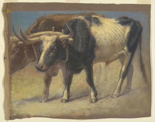 Two steers under a yoke, walking towards left. Part of the head and the hind legs of the animal in the background are not shown. Brown strip on top. Brown and unpainted margins at left.