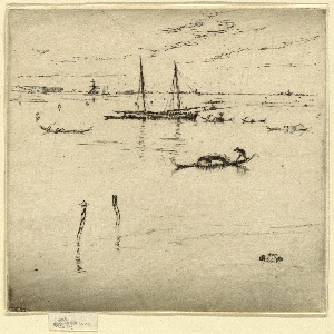 View of the lagoon, with a gondola in the foreground and several others in the middle ground, beside a two-masted schooner. Skyline of Venice suggested in distance.