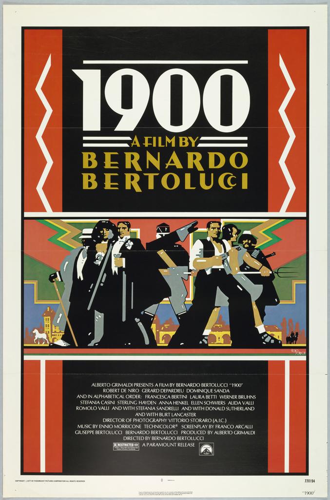 Film poster advertising the movie 1900 by the director Bernardo Bertoluci.