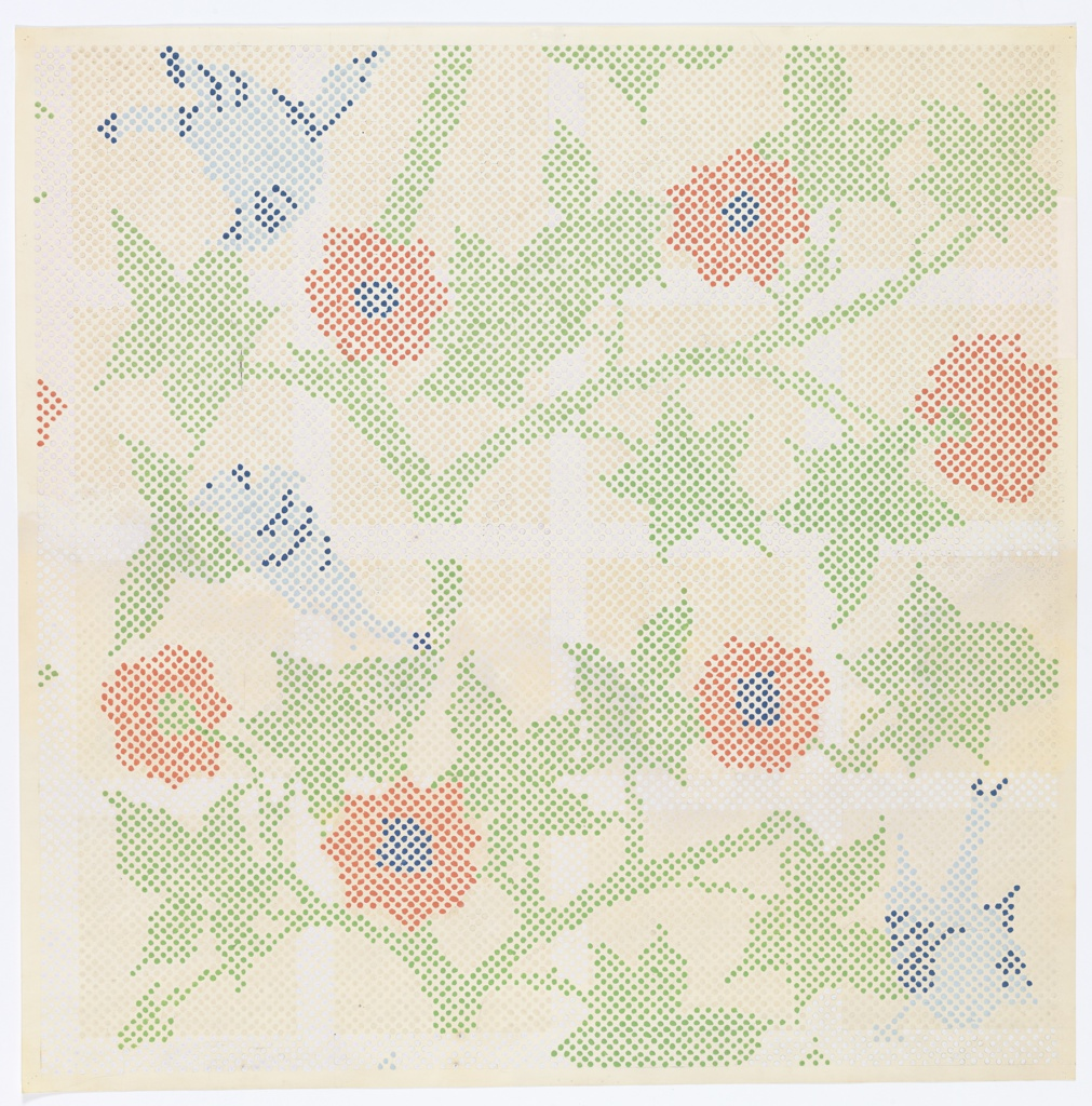"""Dsign re-interprets the 1862 William Morris pattern """"Trellis"""" as a series of brightly colored dots. Handpainted in green, red, white and blue on off-white ground."""
