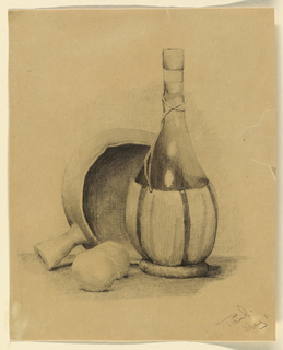 """Vertical rectangle. Still-life of a bottle, pot, and lemons. Signed at lower right, in pencil: """"PAUL. / MAY 1."""""""