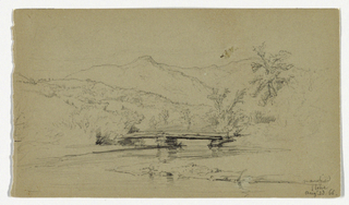 River curving under bridge in foreground. Ridge and mountains beyond. Verso: Sketch of ferns.