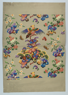 Vertical rectangle. Chinoiserie design of flowers and bird on grey background. Color chart at lower left. Verso, in pencil: Original drawing made in my own studio, free of duty as paragraph 1704; artist's signature and address.