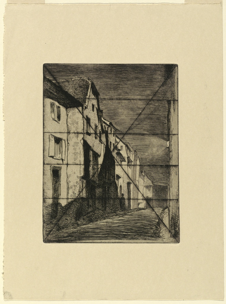 A night scene in a narrow village street. The buildings are bathed in brilliant moonlight, left. A lantern shines on a building, right. The plate is crossed by bisecting lines from the four corners and four parallel horizontal lines, all in dry point.