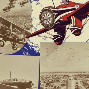 "A heading in blue reads ""WEST POINT OF THE AIR"". Underneath the words ""FLYING CADETS"" in white enclosed in red wings is seen. At the center is a red plane with two more following. Overlapping the flying plane is a mixture of planes in flying formation, landing, and others on base. At the bottom of the poster there is information regarding how to enlist in the US Army Corps."