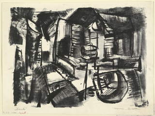 "Horizontal rectangle. A wharf scene, with building at right, abstractly rendered. Inscribed, lower left (in pencil): ""Docks"" and signed, lower right (in pencil): ""Marvin Goldstein."""