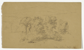 Group of trees in foreground and mountains in far distance. Verso: Studies of two cows and leaf branches.