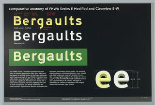 """On a black ground, at upper left, three rows of type with the fictitious place """"Bergaults.""""  The top one in yellow in FHWA Series E-modified, the middle one in white in ClearviewHwy, and the lower one in white on green showing ClearviewHwy superimposed on the former font.  At bottom left, two blocks of text, at lower right exmples of the lowercase """"e"""" with ClearviewHwy superimposed on FHWA Series E-Modified."""