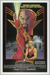 """Poster for the film """"Flash Gordon,"""" 1980. On a black ground. A red border springs from lightning-bolt-like lines emanating from the high collar of an enlarged central figure with a bald head and exaggerated eyebrows and facial hair. His costume is red and gold, and though only his head and arm are depicted, a flowing red robe falls to the bottom border. At left, several winged figures wearing vaguely Roman costume fly toward the viewer. At right, a blonde man with a large sword stands next to a crowned woman, looking up and alert. Behind them, a gleaming city on pillars of light. At center, below, the film's title, with a planet bisected by a ring and lightning bolts between the words. At top, in yellow text: """"Pathetic earthlings… who can save you now?"""" and below, film credits, and Music by Queen."""