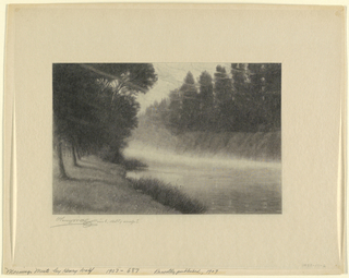The mists rising along the banks of a river. Trees line both sides of the stream. Three birds fly low over the water, at right.