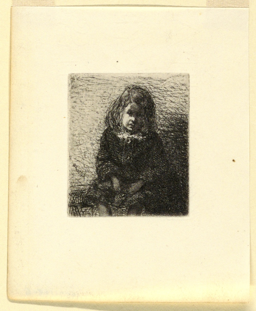 A young male figure with long hair is seated, his hands resting in his lap and his head bent to the right. Portrait of Arthur, son of the artist, Francis Seymour Haden.