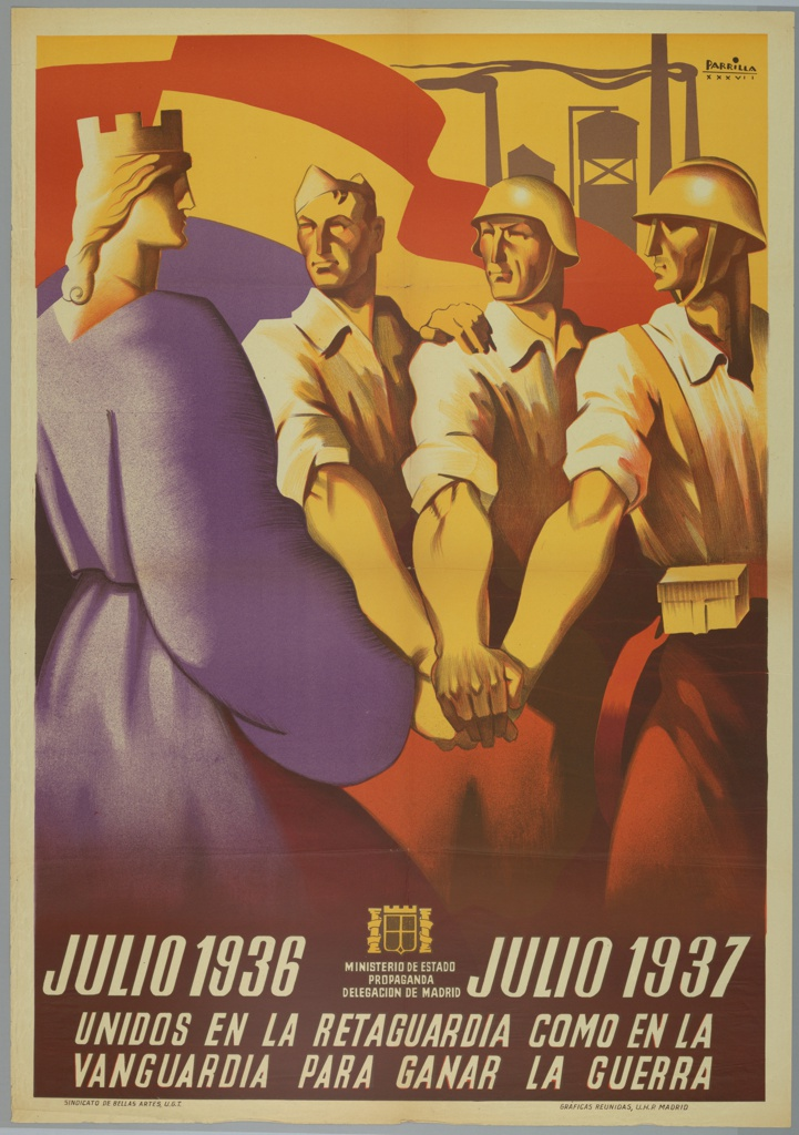 Spanish Civil War poster.  Three soldiers make oath to Queen dressed in purple. Text in white, below: JULIO 1936 [symbol of Madrid propaganda ministry] JULIO 1937 / UNIDOS EN LA RETAGUARDIA COMO EN LA / VANGUARDIA PARA GANAR LA GUERRA. (United in the rear as at the front in order to win the war: July 1936-July 1937)
