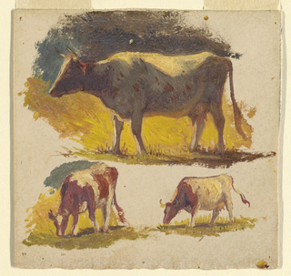 Creamy grounding color. Above, a standing cow shown in profile turned toward left. Below, two grazing cows, shown slightly oblique, toward left.