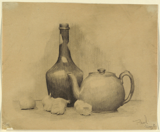 """Horizontal rectangle. A still-life of a bottle, tea-pot, and onions. Signed in pencil, lower right: """"Paul./May 8."""""""