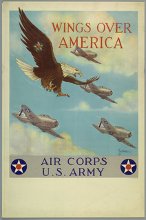 Poster, Wings Over America, Air Corps U.S. Army, 1939