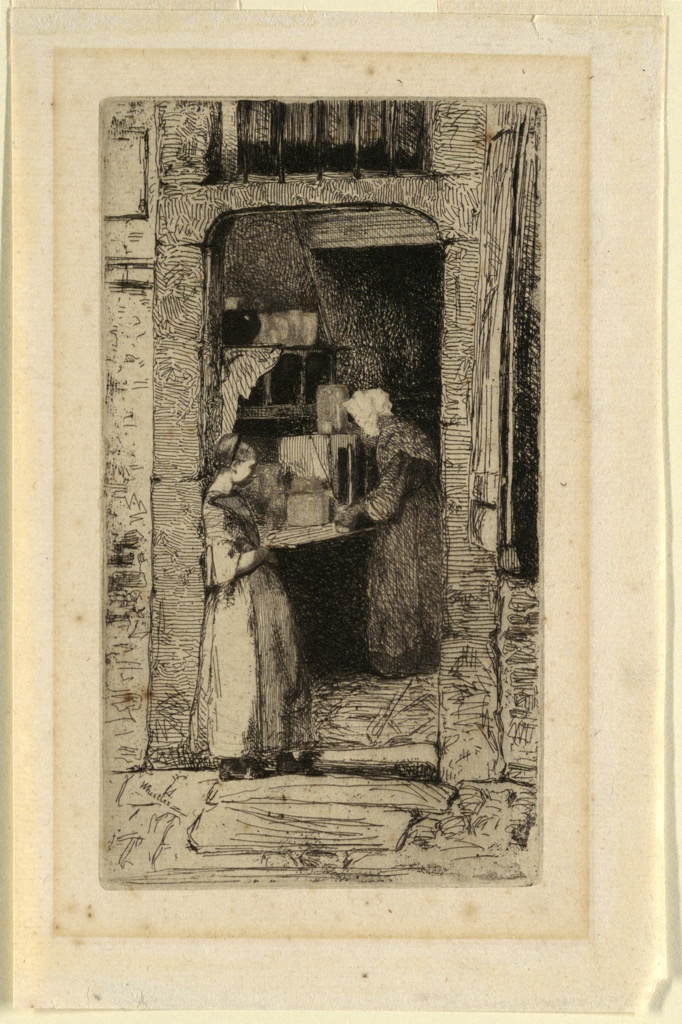 A young female figure leans against a narrow doorway, above which is a barred window. In a darkened interior, an old woman hovers over a table.