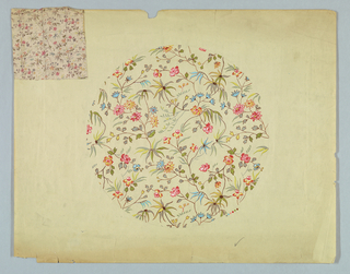 """Horizontal rectangle. Bright floral pattern in circular form on off-white paper. Stapled to upper left corner in a 5 1/2"""" square of printed cotton from which this design seems to have been adapted."""