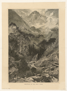 View of mountainous landscape, central mountain with delineated cross shape; trees in the middle ground and river running through to the foreground where there is a male figure with walking stick and satchel on rock formation.