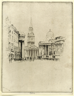 Composition limited to the center of the plate. Portico of the National Gallery, right, and St. Martin's seen in the background.