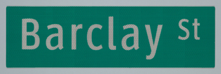 On green ground, the name of a fictitious street, Barclay St, in ClearviewHwy.