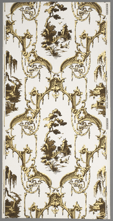 Chinese rococo paper. Twisted, gold, symmetric framework encloses two landscape scenes. One contains a scene of a Chinese man rowing a small bark, behind is a figure crossing a curved bridge with a temple-like building in the background; the alternating scene contains a Chinese building on stilts approached by a board walk. Printed in gold and brown on a white ground.
