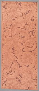 Ground of mottled light burnt-orange, with darker burnt-orange outlining and with over-printed brown fill color, leaving large scale swirling leaf and flower forms in the reserved ground color. Art nouveau style.