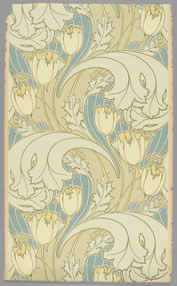 Art Nouveau design with large-scale tulips and acanthus leaves. Printed in shades of green and yellow against a deep blue background on ungrounded paper.
