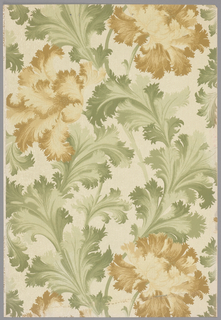 Sample of a sidewall with lush, leafy serpentine branches with huge chrysanthemum-like flowers on hairline-striped and pinpoint-dotted background. Printed in four shades of olive green, three shades of yellow ochre, beige and gray.