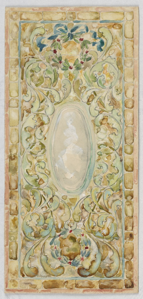 Design in green and yellow vines, C-scrolls, with central oval medallion in gray and blue.