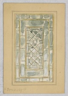 Rectangular gray glass window composed of frames within frames, with rectangles and triangles creating intricate patterns in glass.